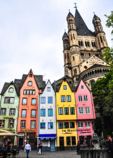 Groß Sankt Martin and Altstadt in Cologne Germany
