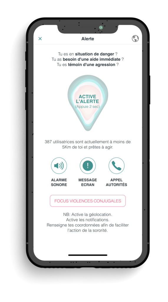 "Ecran Alerte de l'application ""The Sorority"""